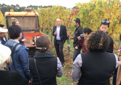 Sampling wine made from the vineyard at Voyager Estate. Photo: Joanna Sundstrom